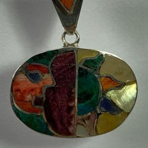950 Silver Pendant with natural stones- Handmade